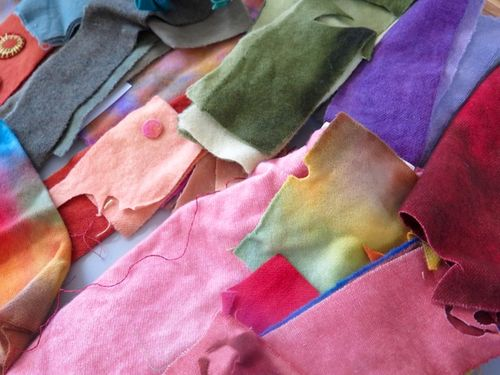 Dorr wool scraps for appliqué quilt